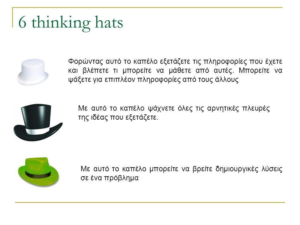 6 thinking hats Φορώντας αυτό το καπέλο εξετάζετε τις πληροφορίες που έχετε και βλέπετε τι μπορείτε να μάθετε από αυτές. Μπορείτε να ψάξετε για επιπλέ