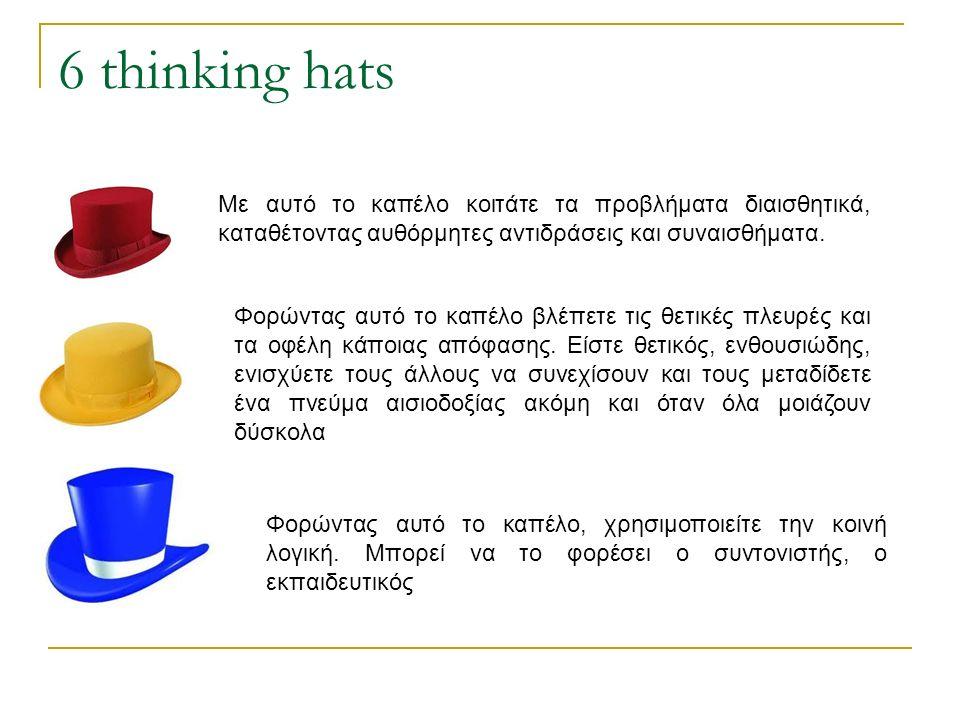 6 thinking hats Με αυτό το καπέλο κοιτάτε τα προβλήματα διαισθητικά, καταθέτοντας αυθόρμητες αντιδράσεις και συναισθήματα.