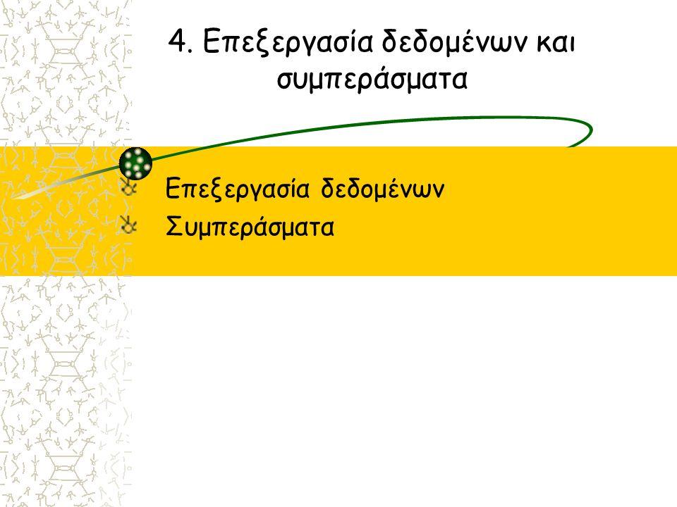 4. Επεξεργασία δεδομένων και συμπεράσματα Επεξεργασία δεδομένων Συμπεράσματα