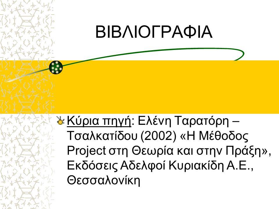 ΒΙΒΛΙΟΓΡΑΦΙΑ Κύρια πηγή: Ελένη Ταρατόρη – Τσαλκατίδου (2002) «Η Μέθοδος Project στη Θεωρία και στην Πράξη», Εκδόσεις Αδελφοί Κυριακίδη Α.Ε., Θεσσαλονί