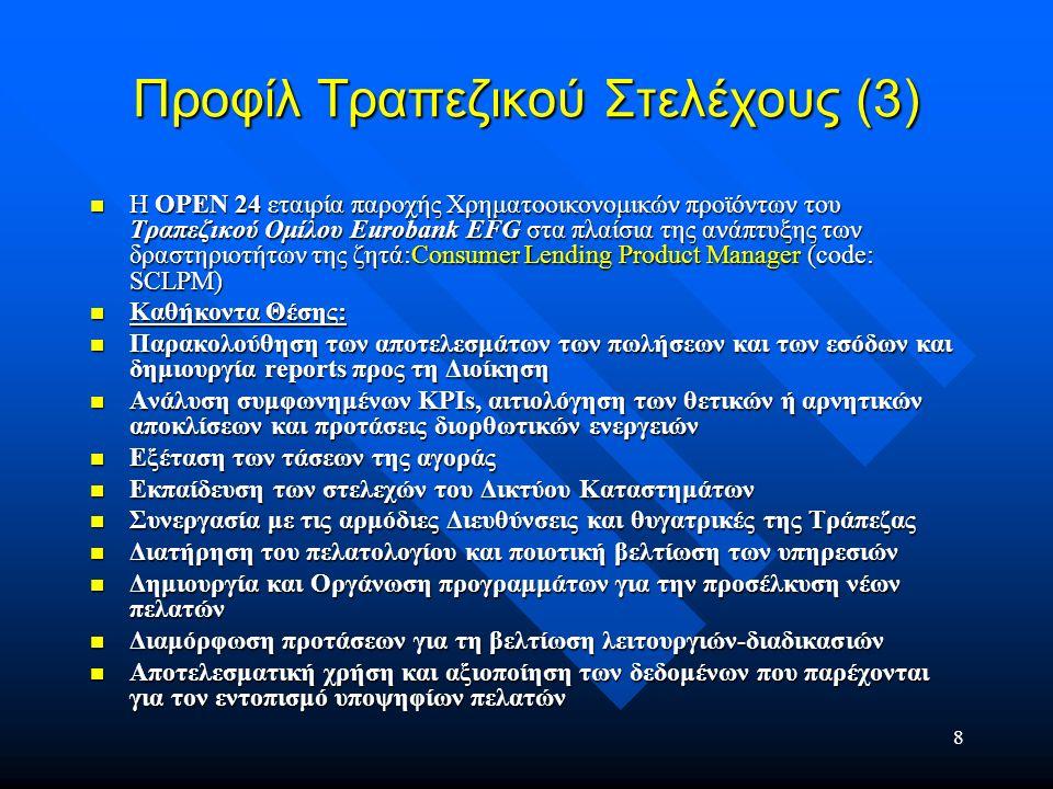 9 Προφίλ Τραπεζικού Στελέχους (3) Γνώσεις και εμπειρία: Γνώσεις και εμπειρία: Πτυχίο ΑΕΙ (κατά προτίμηση Μαθηματικών/ Στατιστικής/ Διοίκησης Επιχειρήσεων/ Οικονομικών) Πτυχίο ΑΕΙ (κατά προτίμηση Μαθηματικών/ Στατιστικής/ Διοίκησης Επιχειρήσεων/ Οικονομικών) Μεταπτυχιακές σπουδές επιθυμητές Μεταπτυχιακές σπουδές επιθυμητές Άριστη γνώση αγγλικής γλώσσας Άριστη γνώση αγγλικής γλώσσας Πολύ καλή γνώση MS Office Πολύ καλή γνώση MS Office 3-5 χρόνια σε αντίστοιχη θέση στο χώρο της Καταναλωτικής Πίστης 3-5 χρόνια σε αντίστοιχη θέση στο χώρο της Καταναλωτικής Πίστης Γνώσεις και Εμπειρία σε Change Management επιθυμητά Γνώσεις και Εμπειρία σε Change Management επιθυμητά Ιδιότητες και δεξιότητες: Ιδιότητες και δεξιότητες: Ομαδικό Πνεύμα Ομαδικό Πνεύμα Αναλυτική Σκέψη Αναλυτική Σκέψη Άνεση στο χειρισμό μεγεθών Άνεση στο χειρισμό μεγεθών Στρατηγική προσέγγιση Στρατηγική προσέγγιση Άριστη ικανότητα επικοινωνίας Άριστη ικανότητα επικοινωνίας Ικανότητα οργάνωσης και προγραμματισμού Ικανότητα οργάνωσης και προγραμματισμού Presentation Skills Presentation Skills Drive Innovation Drive Innovation Δυναμική προσωπικότητα με Ανθρωποκεντρική προσέγγιση Δυναμική προσωπικότητα με Ανθρωποκεντρική προσέγγιση