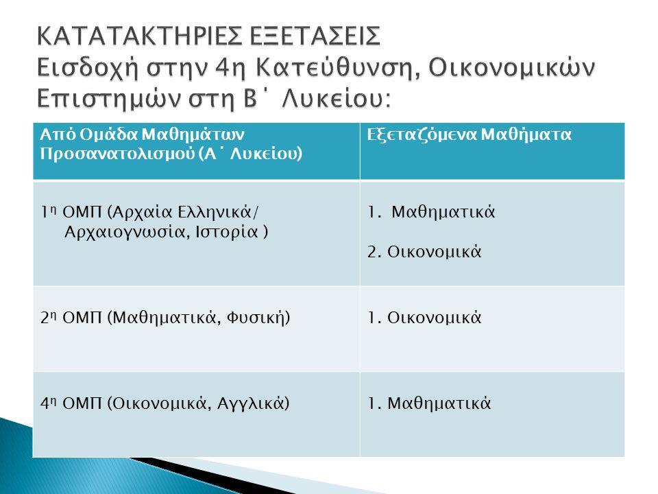 Από Ομάδα Μαθημάτων Προσανατολισμού (Α΄ Λυκείου) Εξεταζόμενα Μαθήματα 1 η ΟΜΠ (Αρχαία Ελληνικά/ Αρχαιογνωσία, Ιστορία ) 1.Μαθηματικά 2.