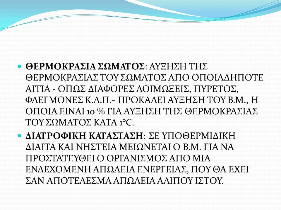 ΘΕΡΜΟΚΡΑΣΙΑ ΣΩΜΑΤΟΣ: ΑΥΞΗΣΗ ΤΗΣ ΘΕΡΜΟΚΡΑΣΙΑΣ ΤΟΥ ΣΩΜΑΤΟΣ ΑΠΟ ΟΠΟΙΑΔΗΠΟΤΕ ΑΙΤΙΑ - ΟΠΩΣ ΔΙΑΦΟΡΕΣ ΛΟΙΜΩΞΕΙΣ, ΠΥΡΕΤΟΣ, ΦΛΕΓΜΟΝΕΣ Κ.Λ.Π.- ΠΡΟΚΑΛΕΙ ΑΥΞΗΣΗ ΤΟΥ Β.Μ., Η ΟΠΟΙΑ ΕΙΝΑΙ 10 % ΓΙΑ ΑΥΞΗΣΗ ΤΗΣ ΘΕΡΜΟΚΡΑΣΙΑΣ ΤΟΥ ΣΩΜΑΤΟΣ ΚΑΤΑ 1°C.