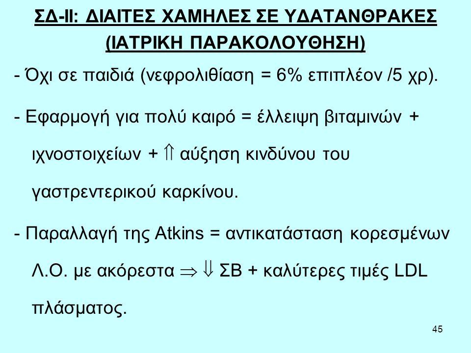 45 ΣΔ-ΙΙ: ΔΙΑΙΤΕΣ ΧΑΜΗΛΕΣ ΣΕ ΥΔΑΤΑΝΘΡΑΚΕΣ (ΙΑΤΡΙΚΗ ΠΑΡΑΚΟΛΟΥΘΗΣΗ) - Όχι σε παιδιά (νεφρολιθίαση = 6% επιπλέον /5 χρ).