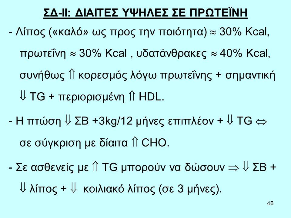 46 ΣΔ-ΙΙ: ΔΙΑΙΤΕΣ ΥΨΗΛΕΣ ΣΕ ΠΡΩΤΕΪΝΗ - Λίπος («καλό» ως προς την ποιότητα)  30% Kcal, πρωτεΐνη  30% Kcal, υδατάνθρακες  40% Kcal, συνήθως  κορεσμός λόγω πρωτεΐνης + σημαντική  TG + περιορισμένη  HDL.