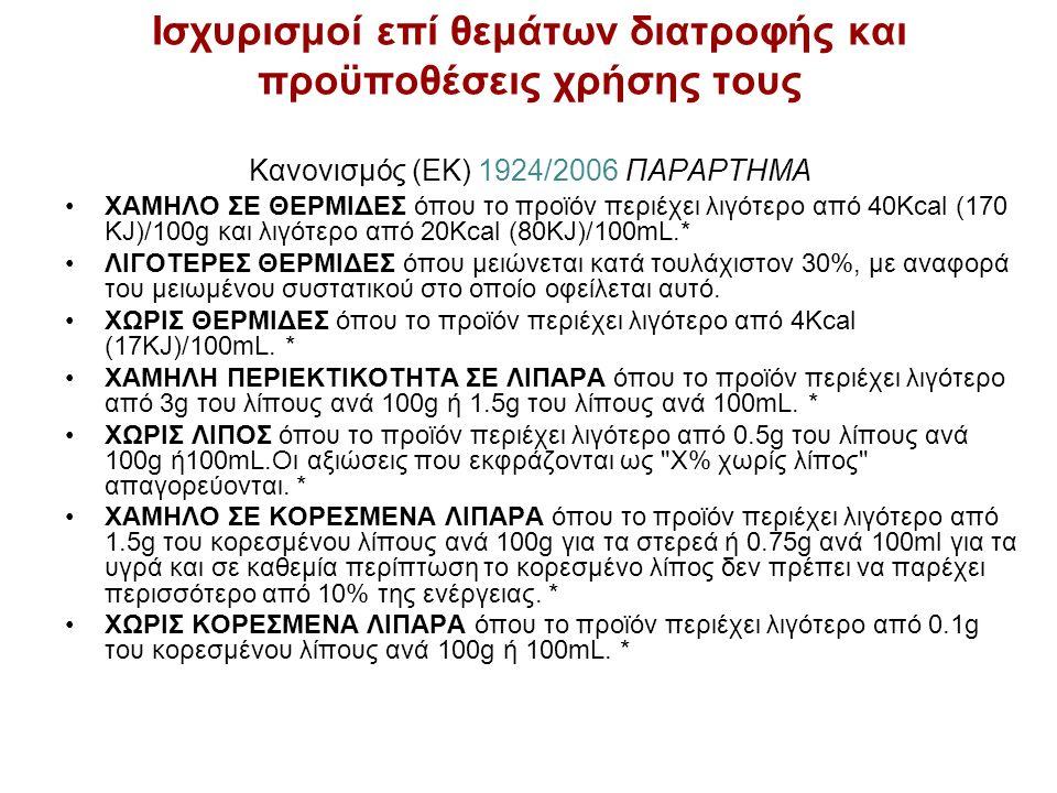 Ισχυρισμοί επί θεμάτων διατροφής και προϋποθέσεις χρήσης τους Κανονισμός (ΕΚ) 1924/2006 ΠΑΡΑΡΤΗΜΑ ΧΑΜΗΛΟ ΣΕ ΘΕΡΜΙΔΕΣ όπου το προϊόν περιέχει λιγότερο από 40Kcal (170 KJ)/100g και λιγότερο από 20Kcal (80KJ)/100mL.* ΛΙΓΟΤΕΡΕΣ ΘΕΡΜΙΔΕΣ όπου μειώνεται κατά τουλάχιστον 30%, με αναφορά του μειωμένου συστατικού στο οποίο οφείλεται αυτό.