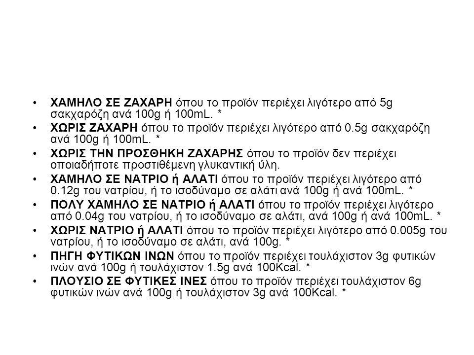 ΧΑΜΗΛΟ ΣΕ ΖΑΧΑΡΗ όπου το προϊόν περιέχει λιγότερο από 5g σακχαρόζη ανά 100g ή 100mL.