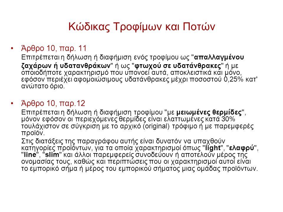 Κώδικας Τροφίμων και Ποτών Άρθρο 10, παρ.