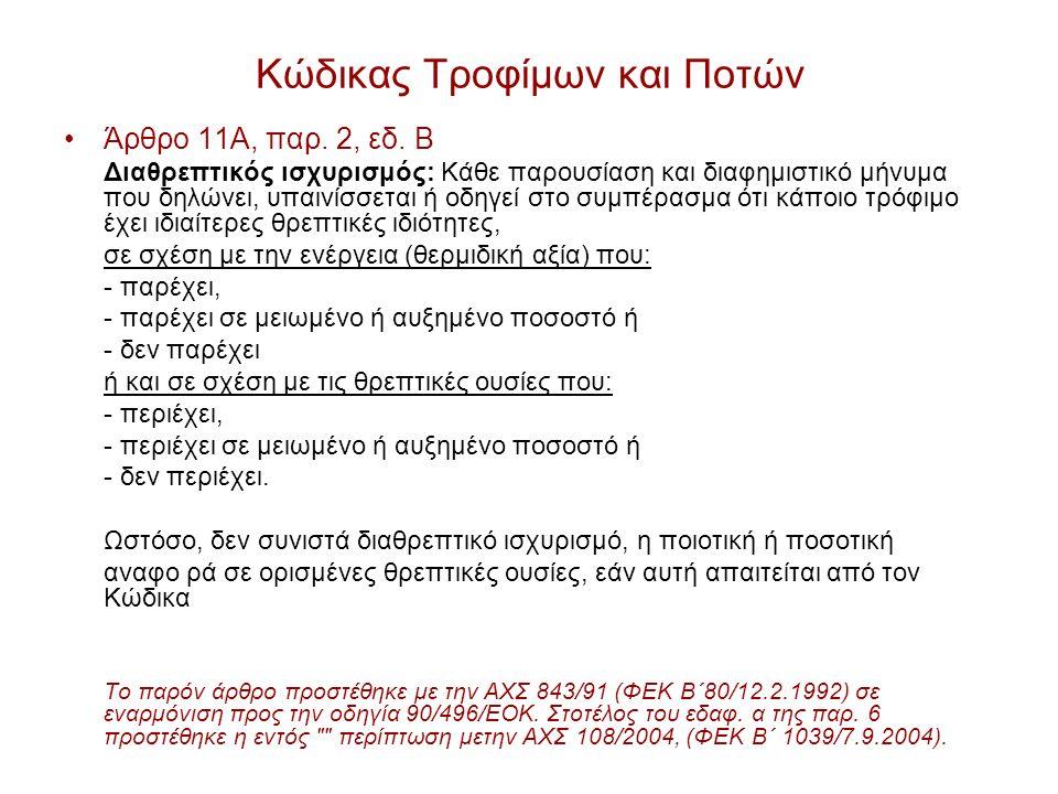 Κώδικας Τροφίμων και Ποτών Άρθρο 11Α, παρ.2, εδ.