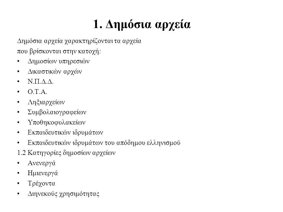 2.Ιδιωτικά αρχεία α) Τα αρχεία ιδιωτικού περιεχομένου βυζαντινής περιόδου.