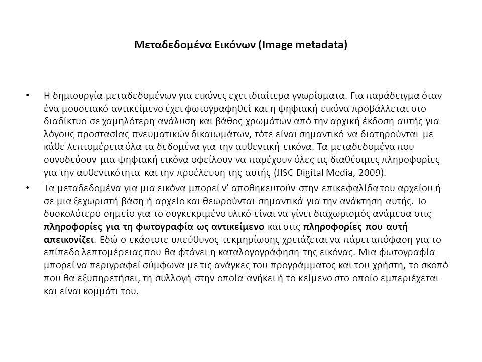 Μεταδεδομένα Εικόνων (Image metadata) H δημιουργία μεταδεδομένων για εικόνες εχει ιδιαίτερα γνωρίσματα. Για παράδειγμα όταν ένα μουσειακό αντικείμενο