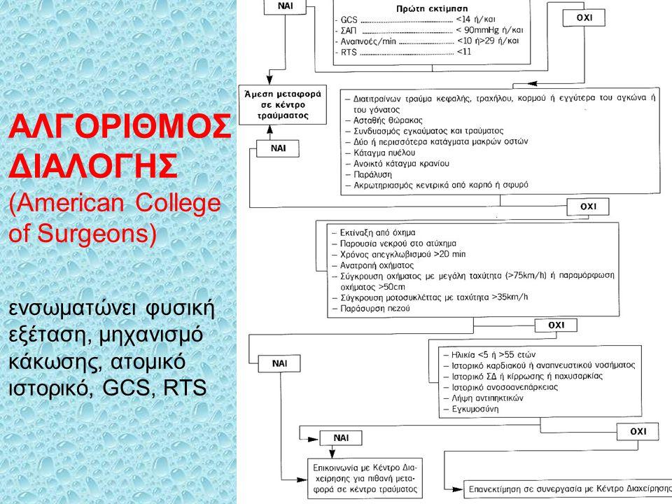ΑΛΓΟΡΙΘΜΟΣ ΔΙΑΛΟΓΗΣ (American College of Surgeons) ενσωματώνει φυσική εξέταση, μηχανισμό κάκωσης, ατομικό ιστορικό, GCS, RTS