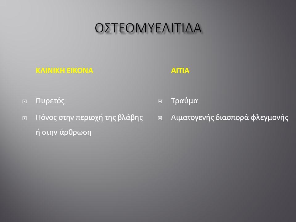 ΚΛΙΝΙΚΗ ΕΙΚΟΝΑ  Πυρετός  Πόνος στην περιοχή της βλάβης ή στην άρθρωση ΑΙΤΙΑ  Τραύμα  Αιματογενής διασπορά φλεγμονής