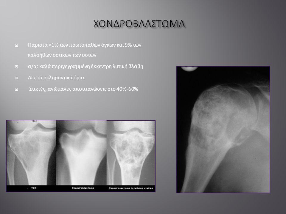  Παριστά <1% των πρωτοπαθών όγκων και 9% των καλοήθων οστικών των οστών  α/α: καλά περιγεγραμμένη έκκεντρη λυτική βλάβη  Λεπτά σκληρυντικά όρια  Στικτές, ανώμαλες αποτιτανώσεις στο 40%-60%