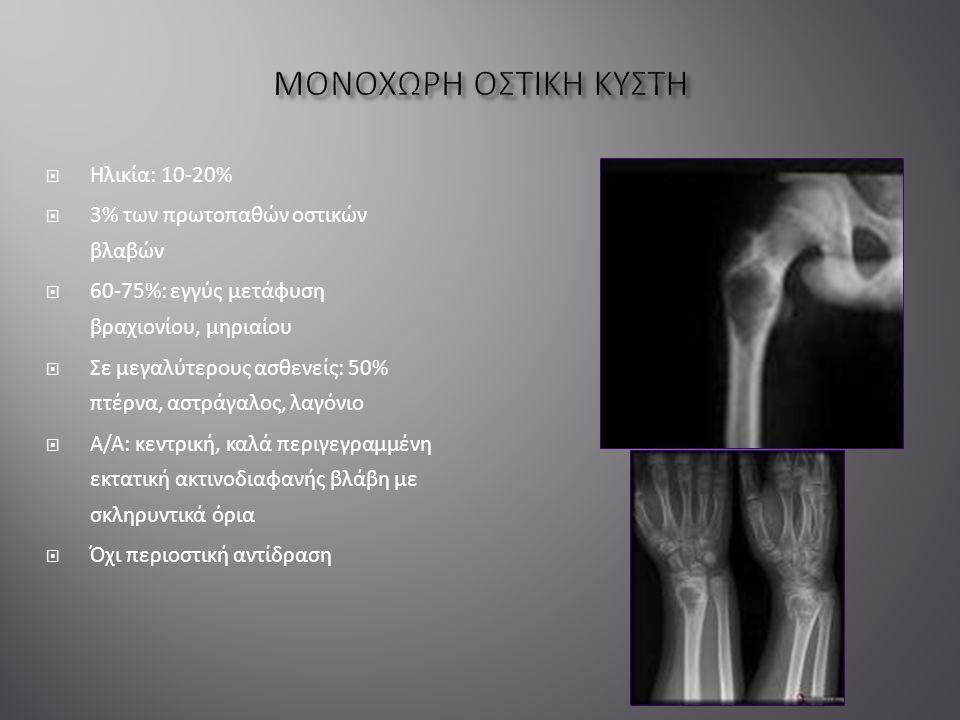  Ηλικία: 10-20%  3% των πρωτοπαθών οστικών βλαβών  60-75%: εγγύς μετάφυση βραχιονίου, μηριαίου  Σε μεγαλύτερους ασθενείς: 50% πτέρνα, αστράγαλος, λαγόνιο  Α/Α: κεντρική, καλά περιγεγραμμένη εκτατική ακτινοδιαφανής βλάβη με σκληρυντικά όρια  Όχι περιοστική αντίδραση