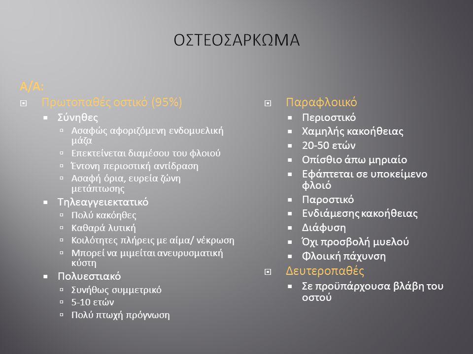 Α/Α:  Πρωτοπαθές οστικό (95%)  Σύνηθες  Ασαφώς αφοριζόμενη ενδομυελική μάζα  Επεκτείνεται διαμέσου του φλοιού  Έντονη περιοστική αντίδραση  Ασαφή όρια, ευρεία ζώνη μετάπτωσης  Τηλεαγγειεκτατικό  Πολύ κακόηθες  Καθαρά λυτική  Κοιλότητες πλήρεις με αίμα/ νέκρωση  Μπορεί να μιμείται ανευρυσματική κύστη  Πολυεστιακό  Συνήθως συμμετρικό  5-10 ετών  Πολύ πτωχή πρόγνωση  Παραφλοιικό  Περιοστικό  Χαμηλής κακοήθειας  20-50 ετών  Οπίσθιο άπω μηριαίο  Εφάπτεται σε υποκείμενο φλοιό  Παροστικό  Ενδιάμεσης κακοήθειας  Διάφυση  Όχι προσβολή μυελού  Φλοιική πάχυνση  Δευτεροπαθές  Σε προϋπάρχουσα βλάβη του οστού