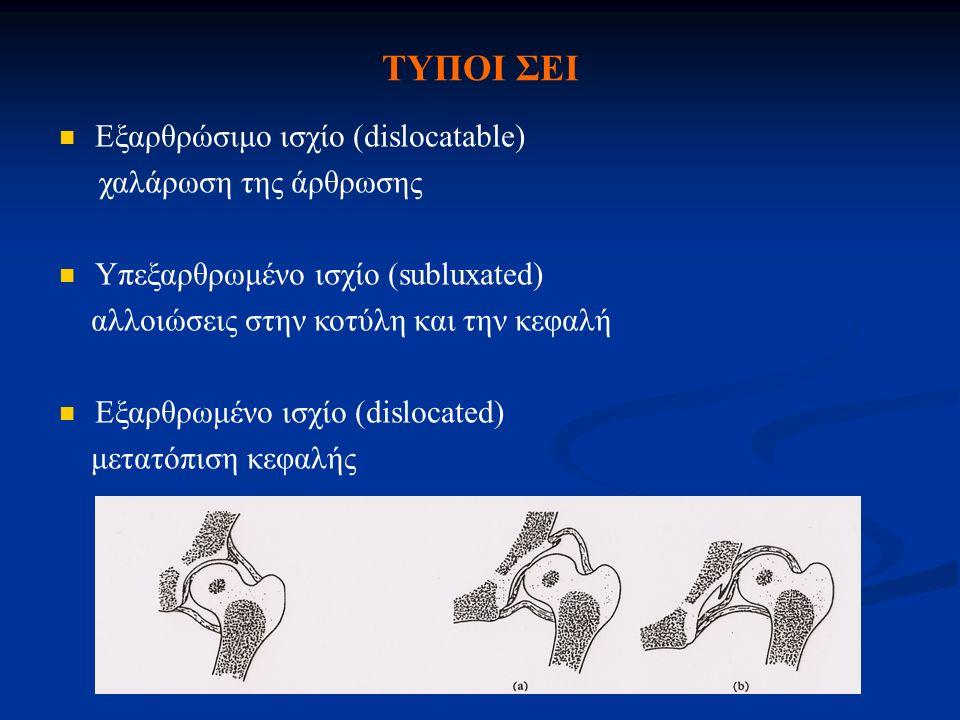 ΤΥΠΟΙ ΣΕΙ Εξαρθρώσιμο ισχίο (dislocatable) χαλάρωση της άρθρωσης Υπεξαρθρωμένο ισχίο (subluxated) αλλοιώσεις στην κοτύλη και την κεφαλή Εξαρθρωμένο ισ