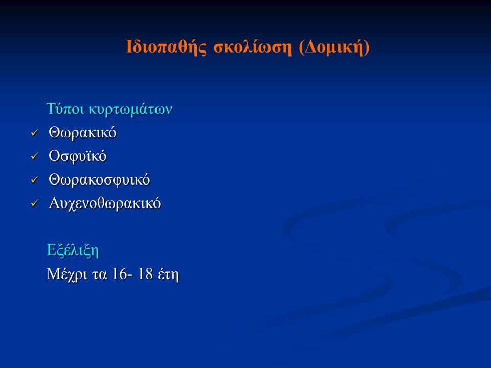 Ιδιοπαθής σκολίωση (Δομική) Τύποι κυρτωμάτων Τύποι κυρτωμάτων Θωρακικό Θωρακικό Οσφυϊκό Οσφυϊκό Θωρακοσφυικό Θωρακοσφυικό Αυχενοθωρακικό Αυχενοθωρακικ