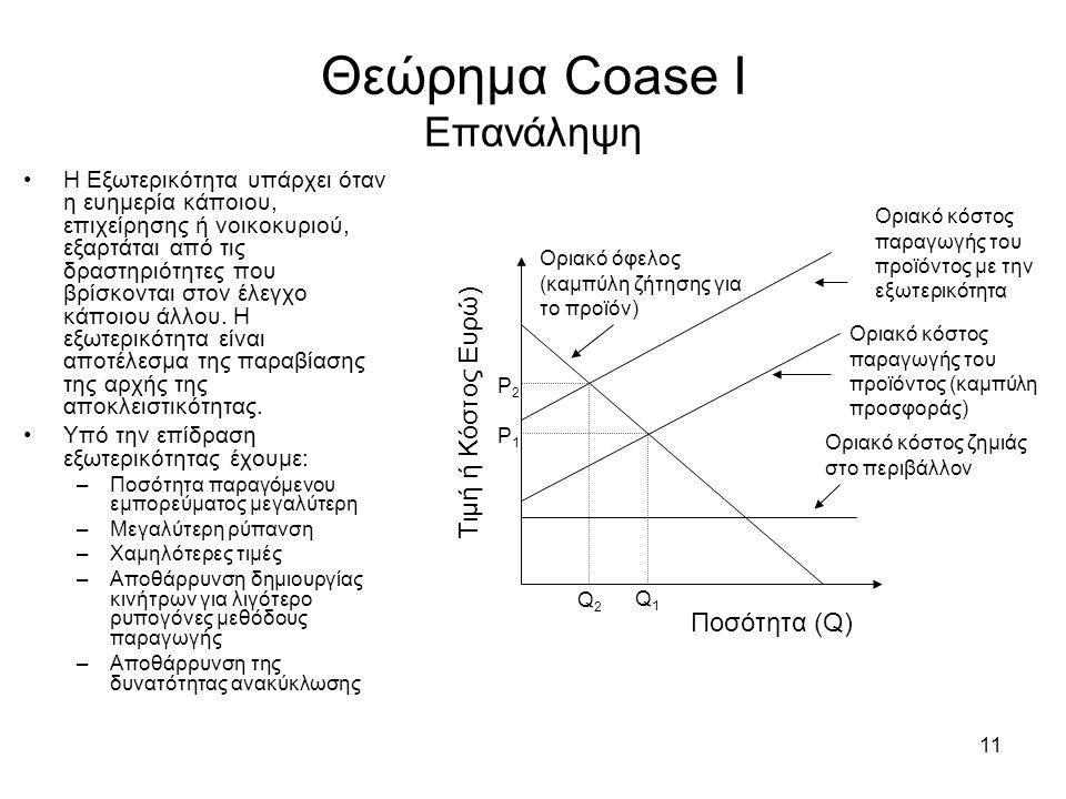 11 Θεώρημα Coase Ι Επανάληψη Η Εξωτερικότητα υπάρχει όταν η ευημερία κάποιου, επιχείρησης ή νοικοκυριού, εξαρτάται από τις δραστηριότητες που βρίσκοντ