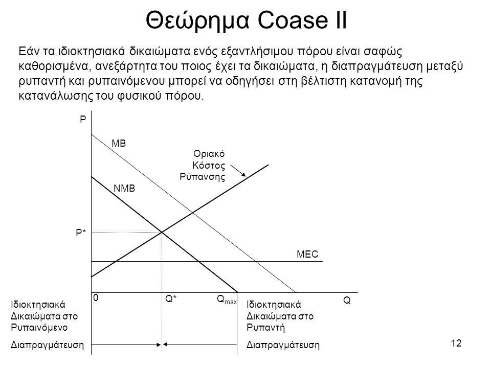 12 Θεώρημα Coase ΙΙ Εάν τα ιδιοκτησιακά δικαιώματα ενός εξαντλήσιμου πόρου είναι σαφώς καθορισμένα, ανεξάρτητα του ποιος έχει τα δικαιώματα, η διαπραγ