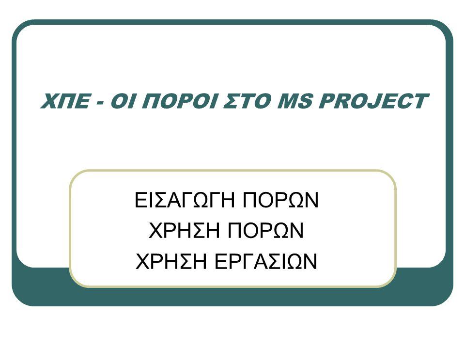 Βήμα 2: Δουλεύοντας με πόρους Επιλέγουμε Εργασία/ Προβολή/ Φύλλο πόρων Εφόσον δεν υπάρχει διάκριση μεταξύ των πόρων μπορούμε να τους εισάγουμε ως έναν πόρο με διαθεσιμότητα 6 μονάδων.