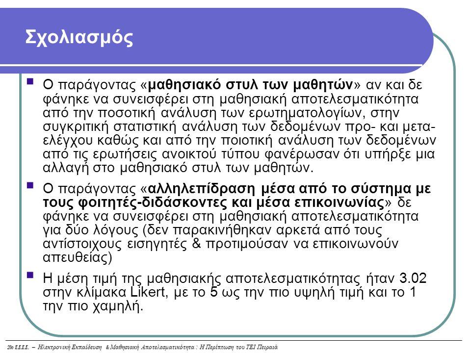 20o E.E.E.E. – Ηλεκτρονική Εκ π αίδευση & Μαθησιακή Α π οτελεσματικότητα : Η Περί π τωση του ΤΕΙ Πειραιά  Ο παράγοντας «μαθησιακό στυλ των μαθητών» α
