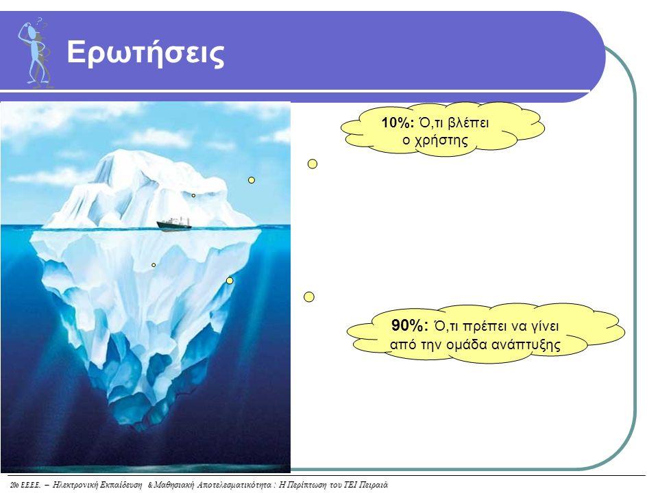 20o E.E.E.E. – Ηλεκτρονική Εκ π αίδευση & Μαθησιακή Α π οτελεσματικότητα : Η Περί π τωση του ΤΕΙ Πειραιά Ερωτήσεις 10%: Ό,τι βλέπει ο χρήστης 90%: Ό,τ