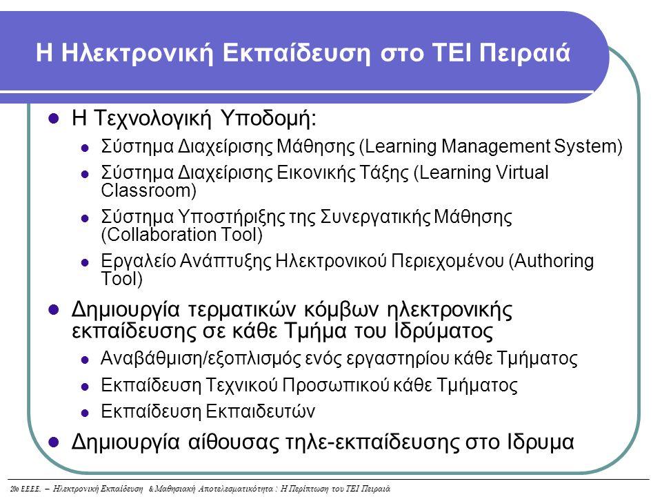 20o E.E.E.E. – Ηλεκτρονική Εκ π αίδευση & Μαθησιακή Α π οτελεσματικότητα : Η Περί π τωση του ΤΕΙ Πειραιά Η Ηλεκτρονική Εκπαίδευση στο ΤΕΙ Πειραιά Η Τε