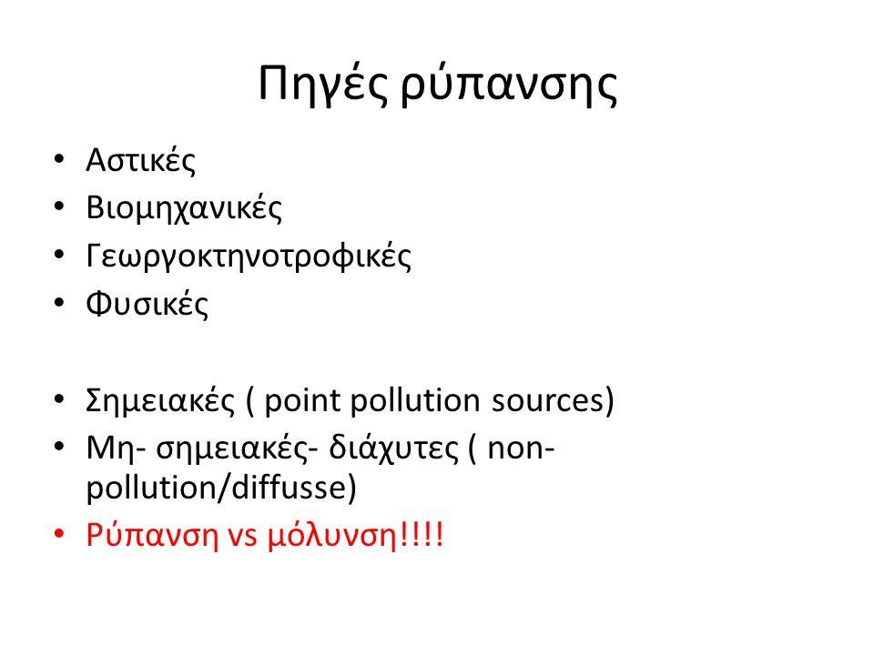 Πηγές ρύπανσης Αστικές Βιομηχανικές Γεωργοκτηνοτροφικές Φυσικές Σημειακές ( point pollution sources) Μη- σημειακές- διάχυτες ( non- pollution/diffusse) Ρύπανση vs μόλυνση!!!!