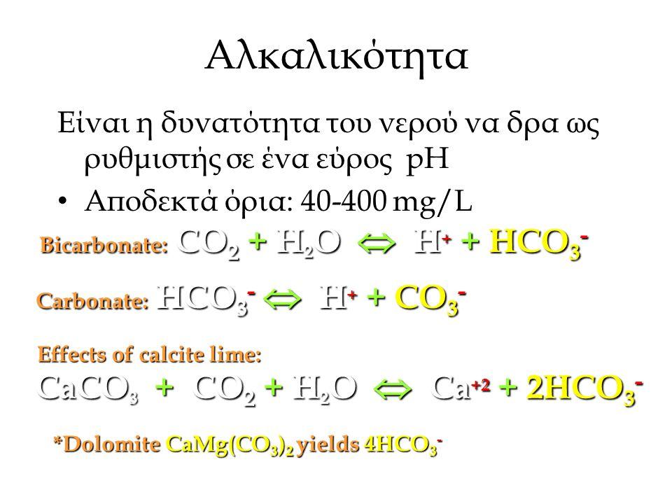 Αλκαλικότητα Είναι η δυνατότητα του νερού να δρα ως ρυθμιστής σε ένα εύρος pH Αποδεκτά όρια: 40-400 mg/L CaCO 3 + CO 2 + H 2 O  Ca +2 + 2HCO 3 - Bicarbonate: CO 2 + H 2 O  H + + HCO 3 - Carbonate: HCO 3 -  H + + CO 3 - Effects of calcite lime: *Dolomite CaMg(CO 3 ) 2 yields 4HCO 3 -