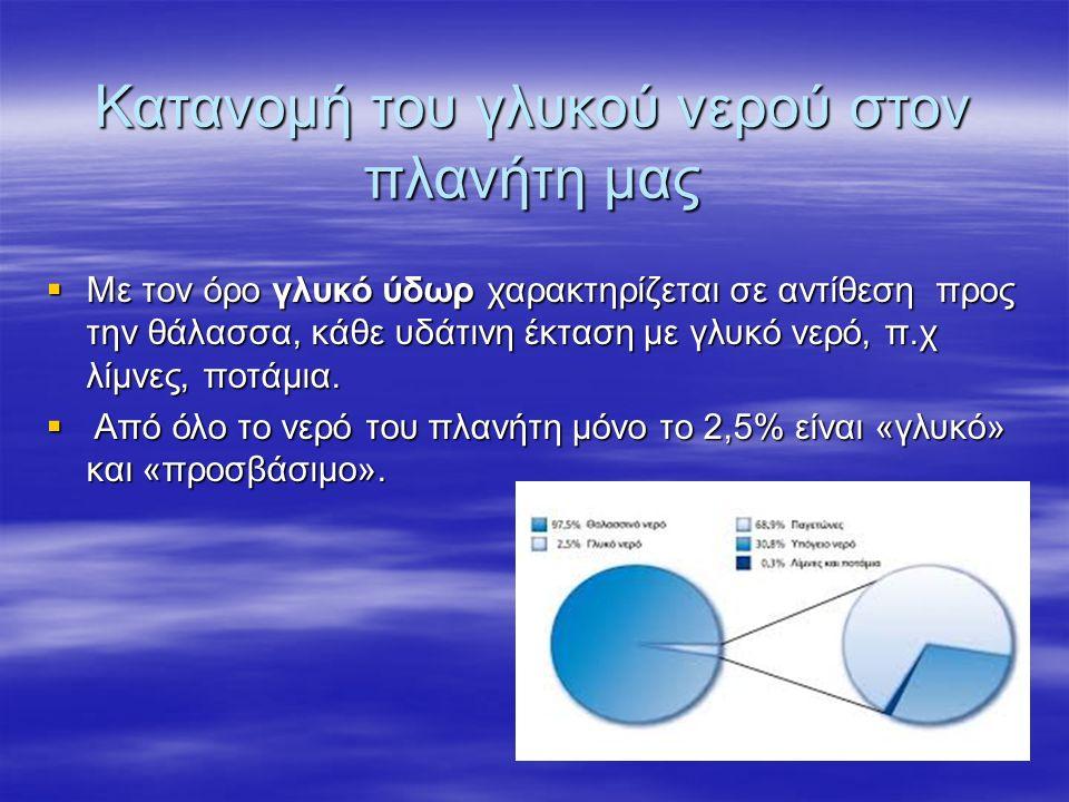 Κατανομή του γλυκού νερού στον πλανήτη μας  Με τον όρο γλυκό ύδωρ χαρακτηρίζεται σε αντίθεση προς την θάλασσα, κάθε υδάτινη έκταση με γλυκό νερό, π.χ