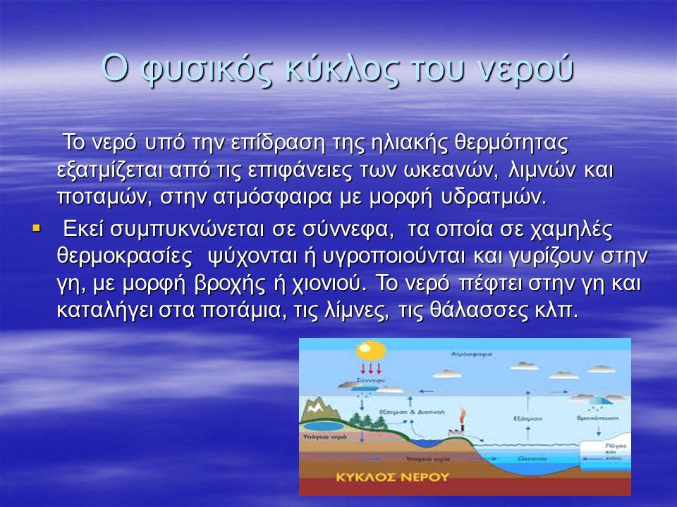 Ο φυσικός κύκλος του νερού Το νερό υπό την επίδραση της ηλιακής θερμότητας εξατμίζεται από τις επιφάνειες των ωκεανών, λιμνών και ποταμών, στην ατμόσφ