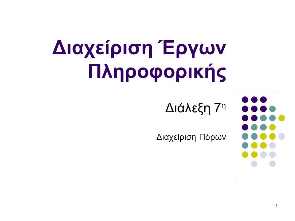 12 Ανάθεση περιορισμένων πόρων NP-hard πρόβλημα Ευρετικές μέθοδοι επίλυσης (αλγόριθμοι) Διαφορετικές Περιπτώσεις: Σταθερή ποσότητα πόρων →προσαρμόζεται η διάρκεια του έργου Σταθερή διάρκεια έργου → αναζητούμε τη βέλτιστη (ελάχιστη) ποσότητα πόρων για την ολοκλήρωση του έργου (εξομάλυνση αιχμών ιστογράμματος κατανομής).