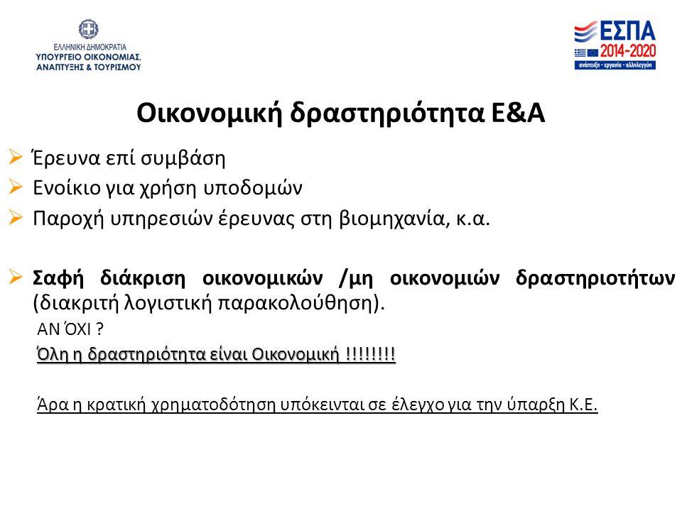 Οικονομική δραστηριότητα Ε&Α  Έρευνα επί συμβάση  Ενοίκιο για χρήση υποδομών  Παροχή υπηρεσιών έρευνας στη βιομηχανία, κ.α.