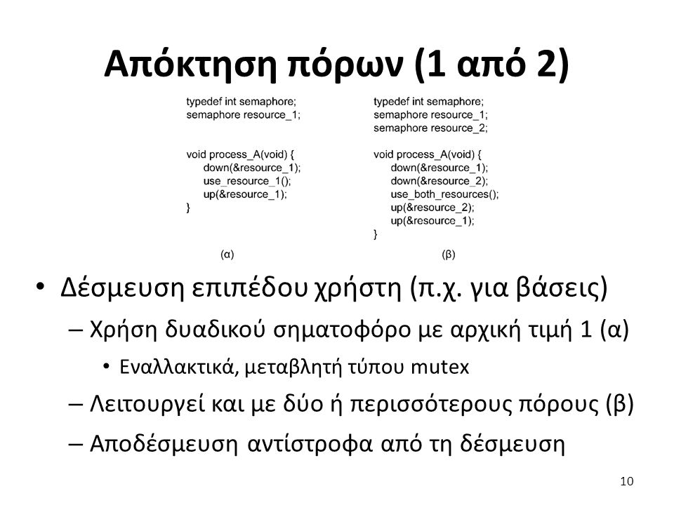 Απόκτηση πόρων (1 από 2) Δέσμευση επιπέδου χρήστη (π.χ.