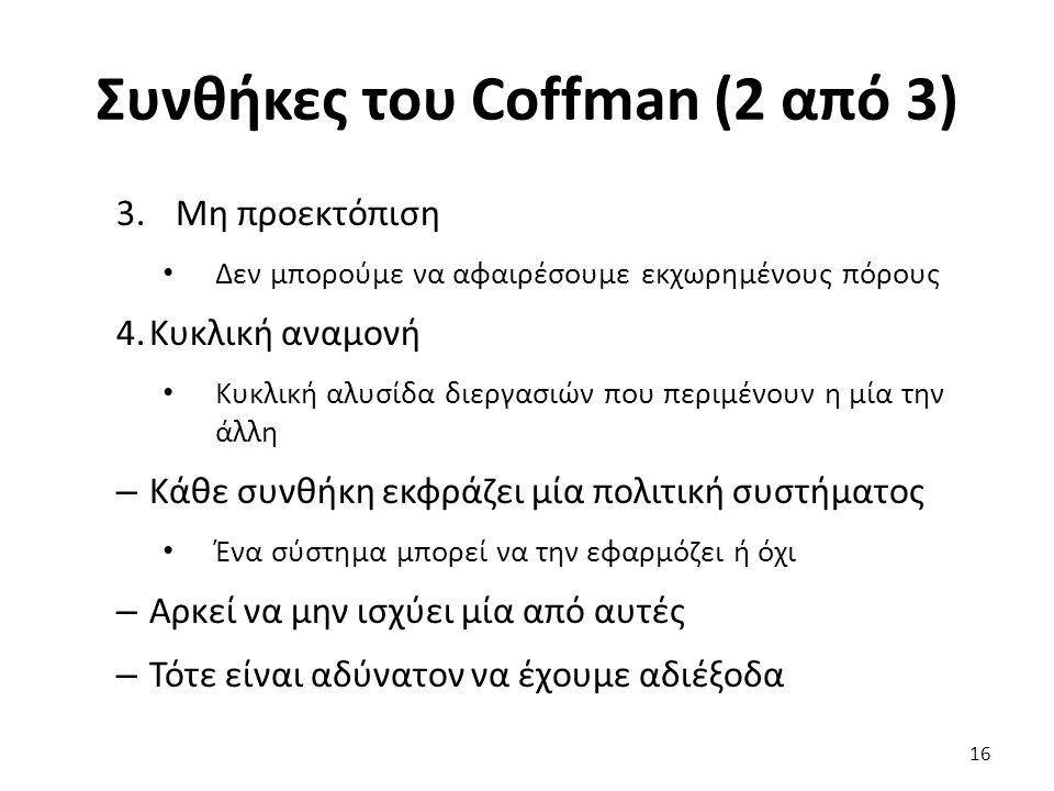 Συνθήκες του Coffman (2 από 3) 3.Μη προεκτόπιση Δεν μπορούμε να αφαιρέσουμε εκχωρημένους πόρους 4.Κυκλική αναμονή Κυκλική αλυσίδα διεργασιών που περιμένουν η μία την άλλη – Κάθε συνθήκη εκφράζει μία πολιτική συστήματος Ένα σύστημα μπορεί να την εφαρμόζει ή όχι – Αρκεί να μην ισχύει μία από αυτές – Τότε είναι αδύνατον να έχουμε αδιέξοδα 16