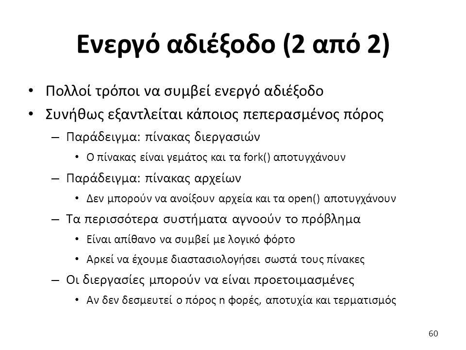Ενεργό αδιέξοδο (2 από 2) Πολλοί τρόποι να συμβεί ενεργό αδιέξοδο Συνήθως εξαντλείται κάποιος πεπερασμένος πόρος – Παράδειγμα: πίνακας διεργασιών Ο πίνακας είναι γεμάτος και τα fork() αποτυγχάνουν – Παράδειγμα: πίνακας αρχείων Δεν μπορούν να ανοίξουν αρχεία και τα open() αποτυγχάνουν – Τα περισσότερα συστήματα αγνοούν το πρόβλημα Είναι απίθανο να συμβεί με λογικό φόρτο Αρκεί να έχουμε διαστασιολογήσει σωστά τους πίνακες – Οι διεργασίες μπορούν να είναι προετοιμασμένες Αν δεν δεσμευτεί ο πόρος n φορές, αποτυχία και τερματισμός 60