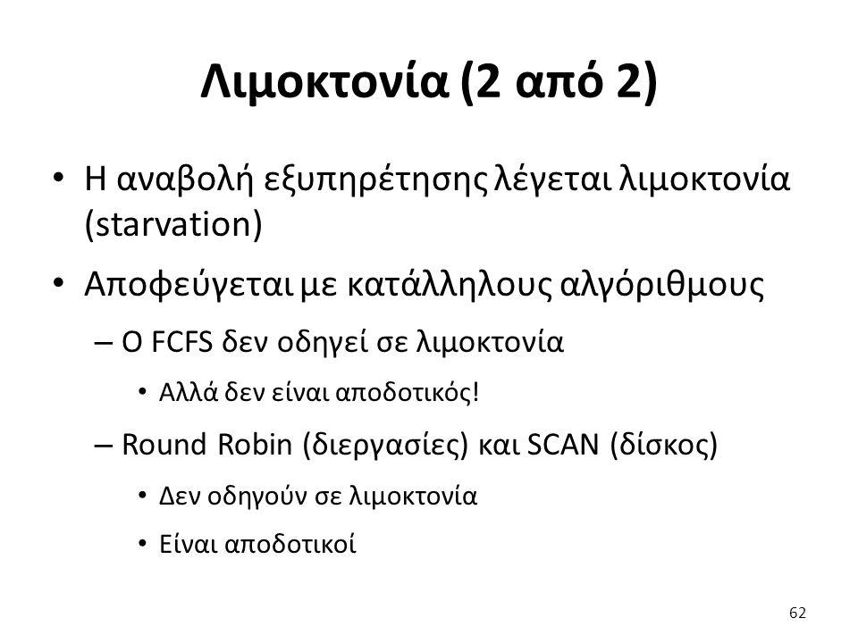 Λιμοκτονία (2 από 2) Η αναβολή εξυπηρέτησης λέγεται λιμοκτονία (starvation) Αποφεύγεται με κατάλληλους αλγόριθμους – Ο FCFS δεν οδηγεί σε λιμοκτονία Αλλά δεν είναι αποδοτικός.