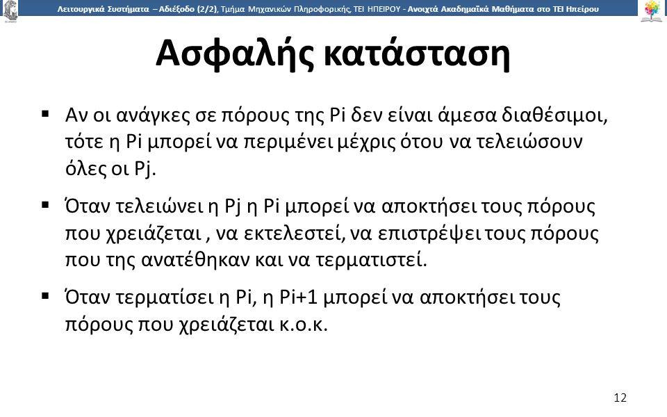 1212 Λειτουργικά Συστήματα – Αδιέξοδο (2/2), Τμήμα Μηχανικών Πληροφορικής, ΤΕΙ ΗΠΕΙΡΟΥ - Ανοιχτά Ακαδημαϊκά Μαθήματα στο ΤΕΙ Ηπείρου Ασφαλής κατάσταση  Αν οι ανάγκες σε πόρους της Pi δεν είναι άμεσα διαθέσιμοι, τότε η Pi μπορεί να περιμένει μέχρις ότου να τελειώσουν όλες οι Pj.
