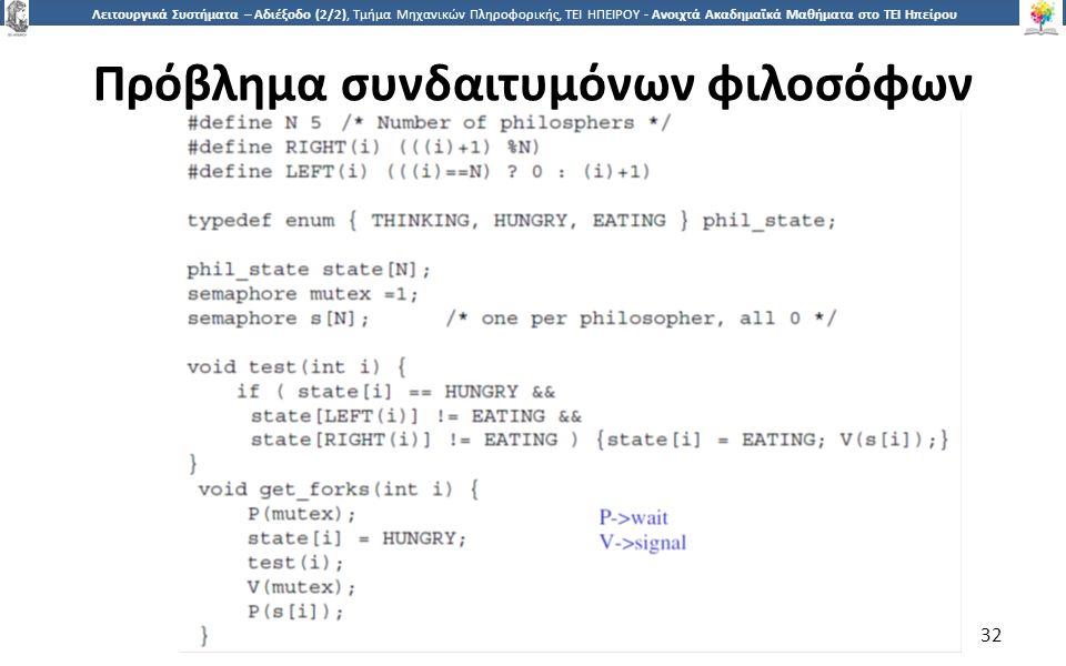 3232 Λειτουργικά Συστήματα – Αδιέξοδο (2/2), Τμήμα Μηχανικών Πληροφορικής, ΤΕΙ ΗΠΕΙΡΟΥ - Ανοιχτά Ακαδημαϊκά Μαθήματα στο ΤΕΙ Ηπείρου Πρόβλημα συνδαιτυμόνων φιλοσόφων 32