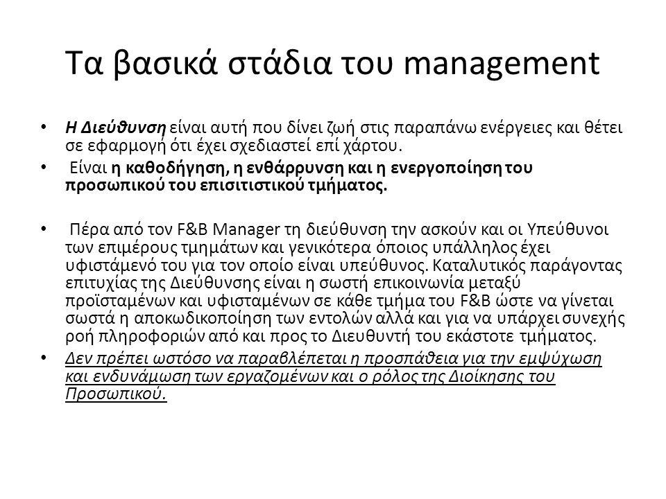 Τα βασικά στάδια του management Η Διεύθυνση είναι αυτή που δίνει ζωή στις παραπάνω ενέργειες και θέτει σε εφαρμογή ότι έχει σχεδιαστεί επί χάρτου.