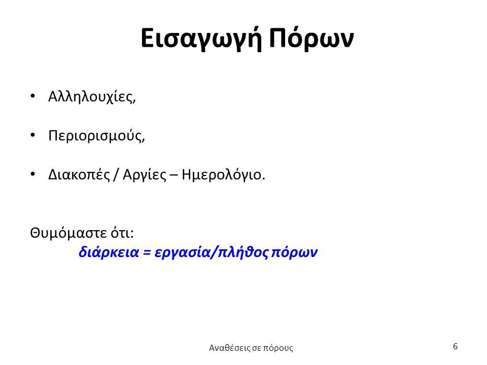 Βήμα 2: Δουλεύοντας με πόρους (2 από 2) Αναθέσεις σε πόρους 17