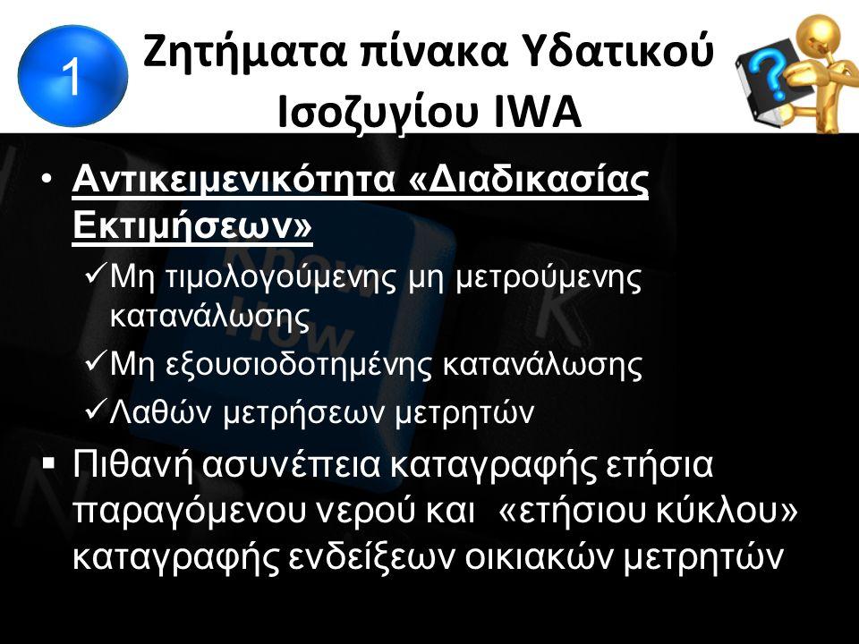 Ζητήματα πίνακα Υδατικού Ισοζυγίου IWA Αντικειμενικότητα «Διαδικασίας Εκτιμήσεων» Μη τιμολογούμενης μη μετρούμενης κατανάλωσης Μη εξουσιοδοτημένης κατανάλωσης Λαθών μετρήσεων μετρητών  Πιθανή ασυνέπεια καταγραφής ετήσια παραγόμενου νερού και «ετήσιου κύκλου» καταγραφής ενδείξεων οικιακών μετρητών 1