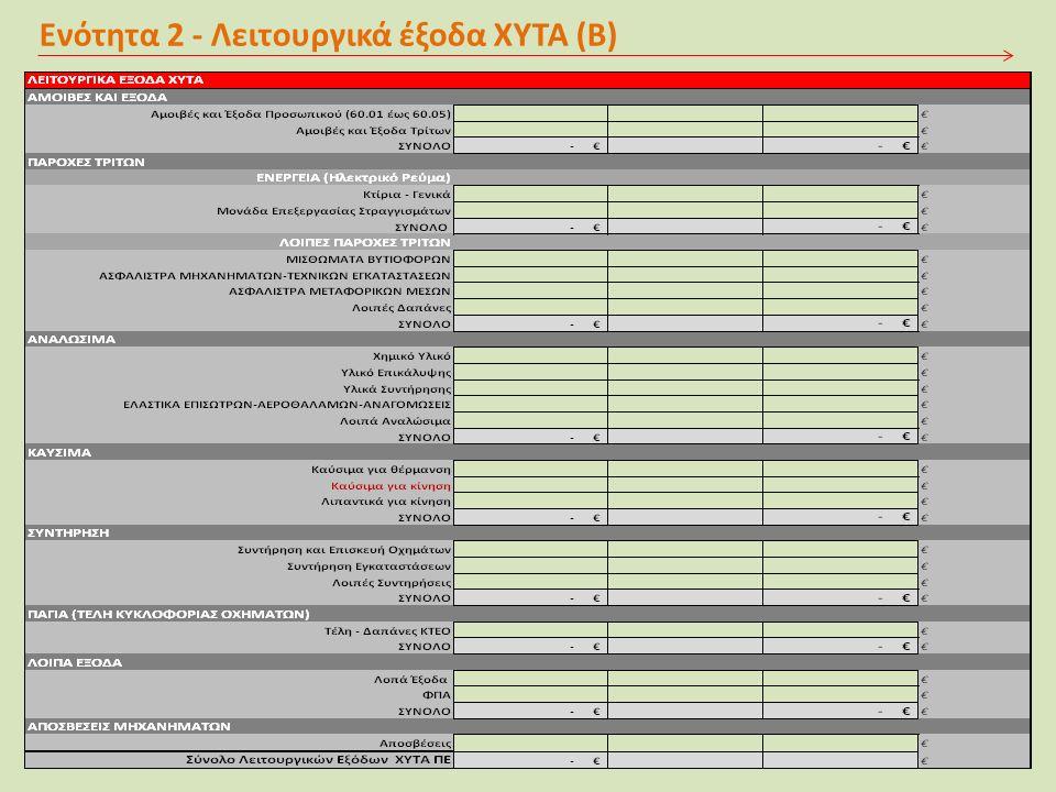 Ενότητα 2 - Λειτουργικά έξοδα ΧΥΤΑ (Β)