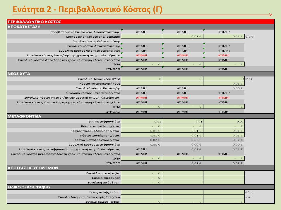 Ενότητα 2 - Περιβαλλοντικό Κόστος (Γ)