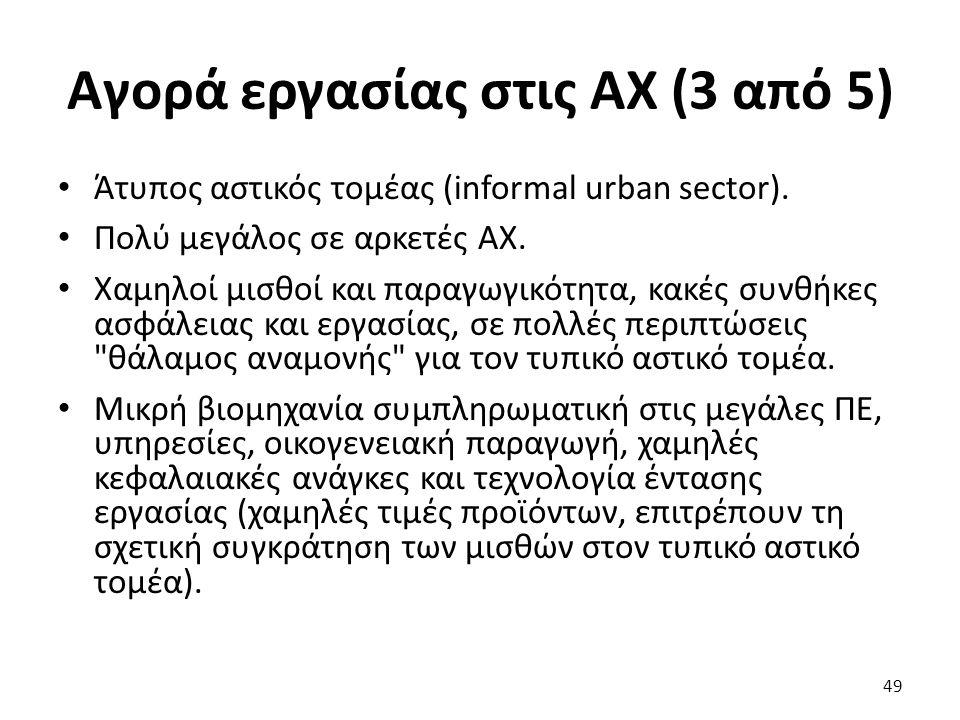 Αγορά εργασίας στις ΑΧ (3 από 5) Άτυπος αστικός τομέας (informal urban sector). Πολύ μεγάλος σε αρκετές ΑΧ. Χαμηλοί μισθοί και παραγωγικότητα, κακές σ