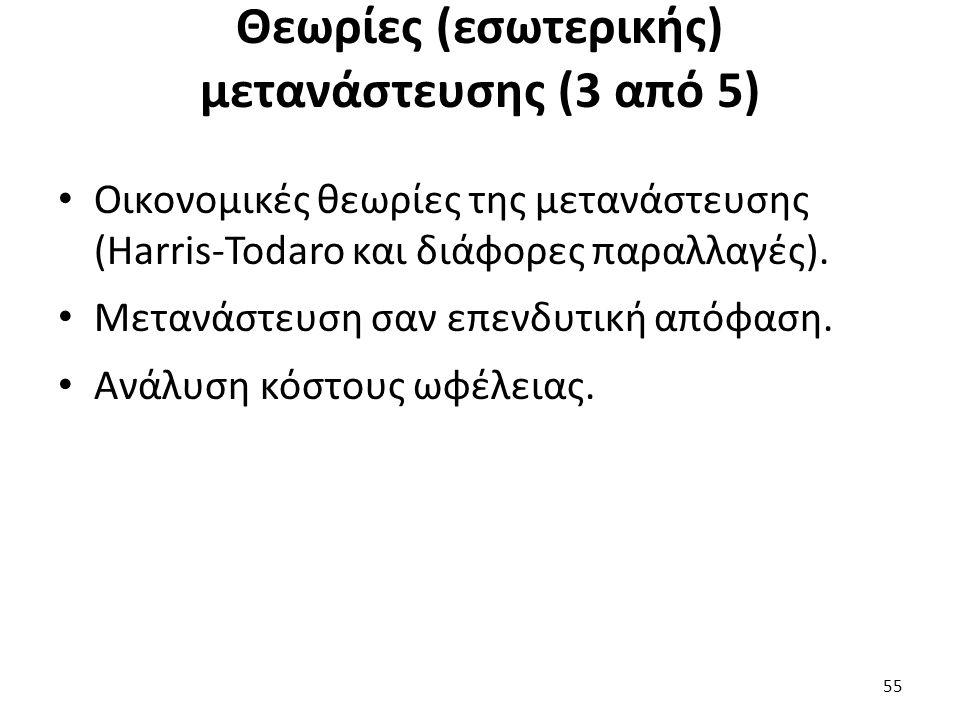 Θεωρίες (εσωτερικής) μετανάστευσης (3 από 5) Οικονομικές θεωρίες της μετανάστευσης (Harris-Todaro και διάφορες παραλλαγές). Μετανάστευση σαν επενδυτικ