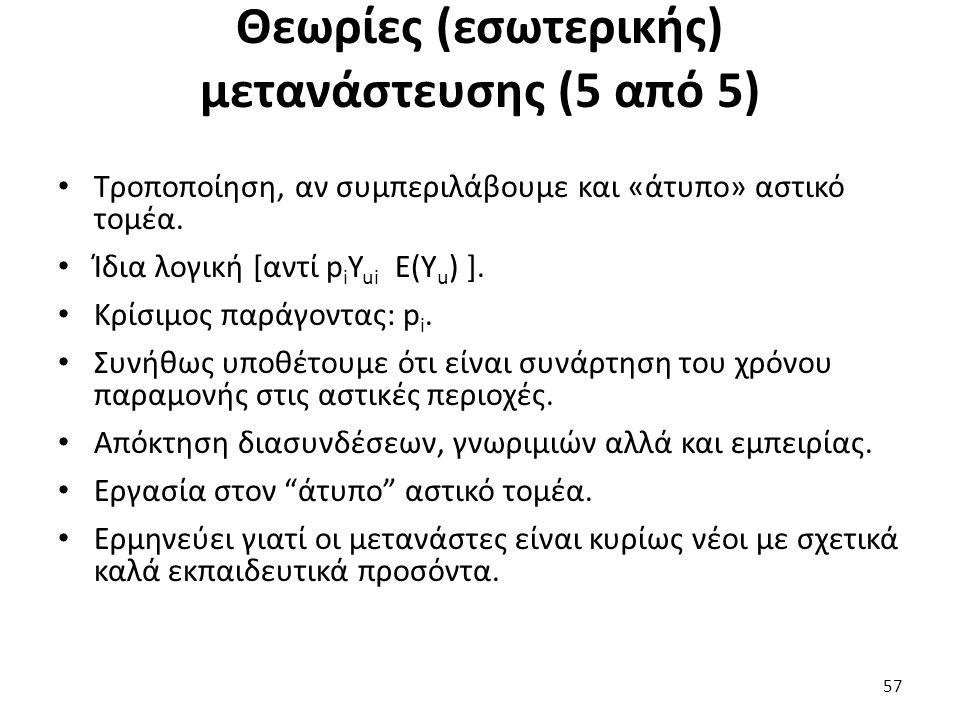 Θεωρίες (εσωτερικής) μετανάστευσης (5 από 5) Τροποποίηση, αν συμπεριλάβουμε και «άτυπο» αστικό τομέα. Ίδια λογική [αντί p i Y ui Ε(Υ u ) ]. Κρίσιμος π