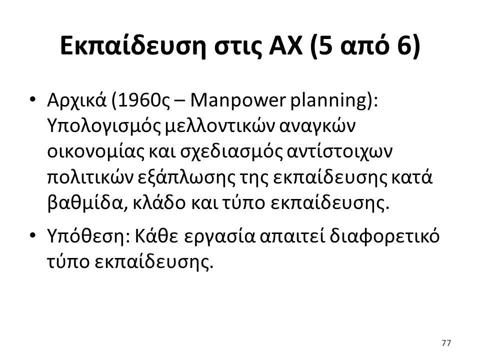 Εκπαίδευση στις ΑΧ (5 από 6) 77 Αρχικά (1960ς – Manpower planning): Υπολογισμός μελλοντικών αναγκών οικονομίας και σχεδιασμός αντίστοιχων πολιτικών εξ