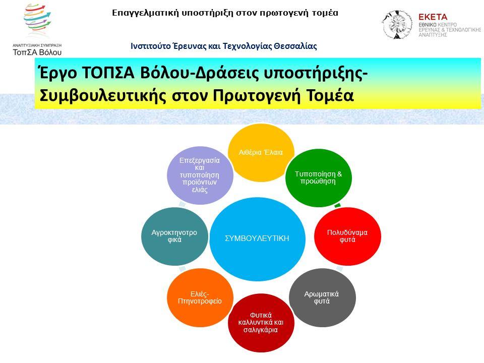 Έργο ΤΟΠΣΑ Βόλου-Δράσεις υποστήριξης- Συμβουλευτικής στον Πρωτογενή Τομέα Επαγγελματική υποστήριξη στον πρωτογενή τομέα Ινστιτούτο Έρευνας και Τεχνολογίας Θεσσαλίας ΣΥΜΒΟΥΛΕΥΤΙΚΗ Αιθέρια Έλαια Τυποποίηση & προώθηση Πολυδύναμα φυτά Αρωματικά φυτά Φυτικά καλλυντικά και σαλιγκάρια Ελιές- Πτηνοτροφείο Αγροκτηνοτρο φικά Επεξεργασία και τυποποίηση προϊόντων ελιάς